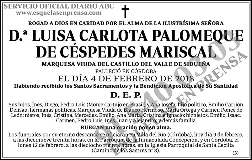 Luisa Carlota Palomeque de Céspedes Mariscal
